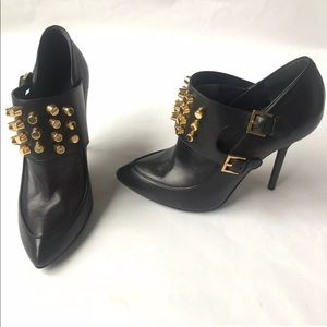 Gucci Alexandra Cylinder Studded Leather Booties
